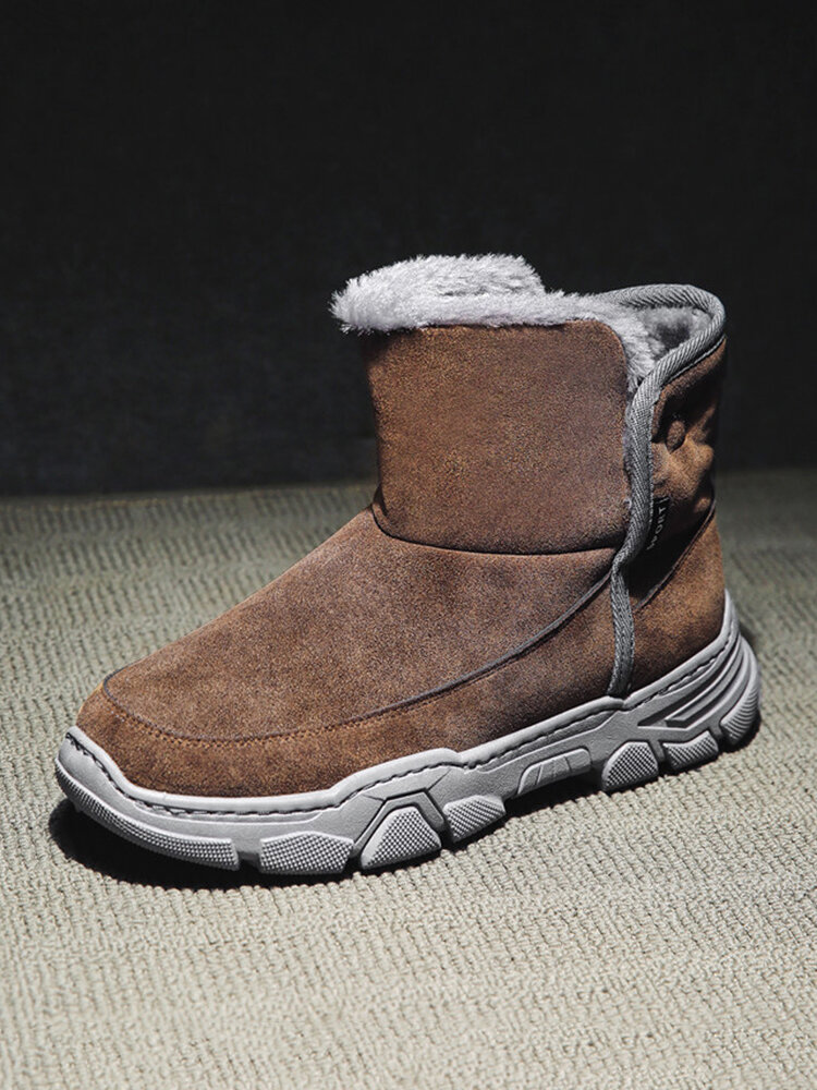 Men Comfy Soft Suede Fabric Warm Lining Wearable Snow Boots