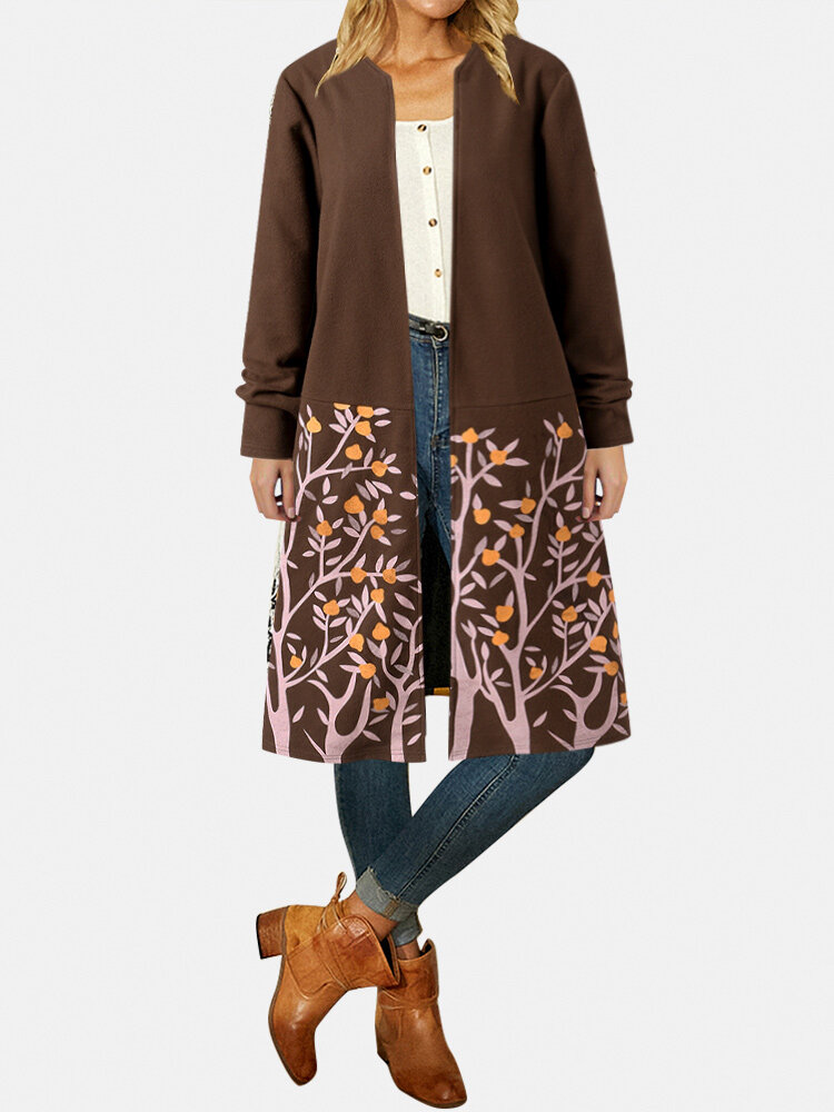 Vintage Flower Print Long Sleeves Casual Coats For Women