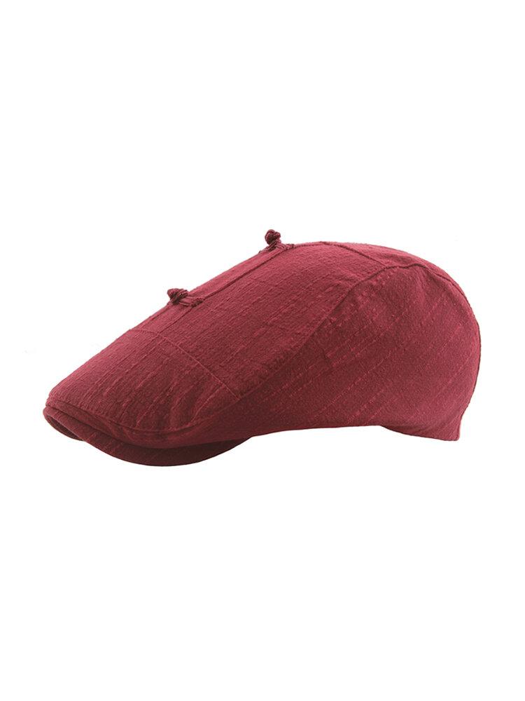 Womens Solid Color Vogue Ethnic Style Cotton Linen Beret Cap Breathable Adjustable Outdoor Sun Hat