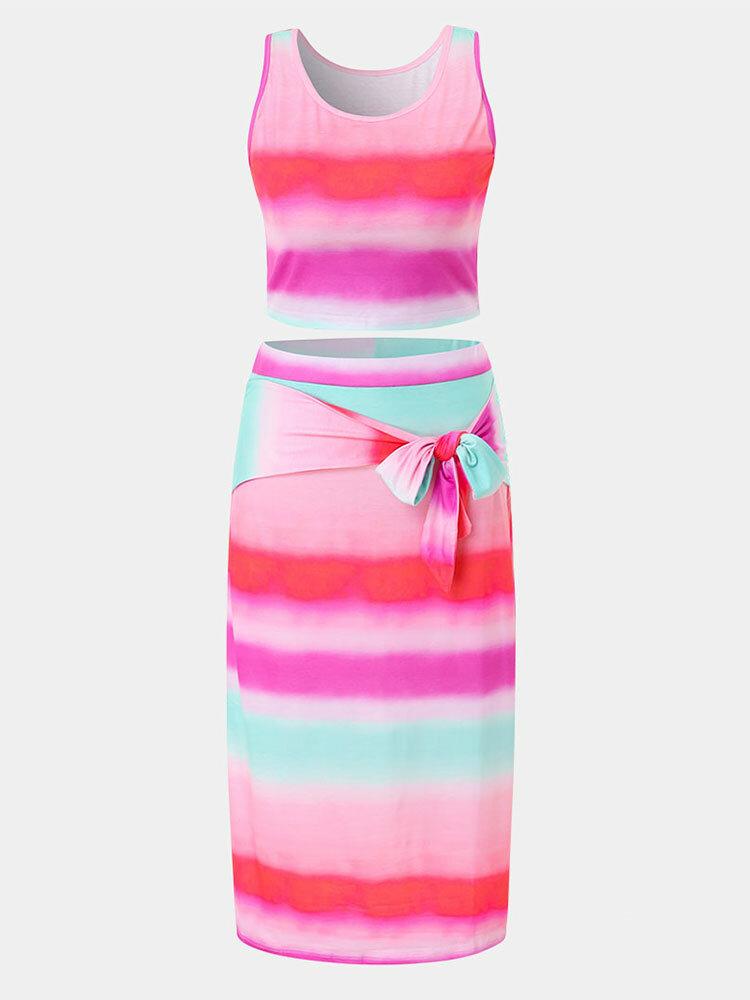 Gradient Color Contrast Tank Top & Knotted Bodycon Skirt Plus Size Suit