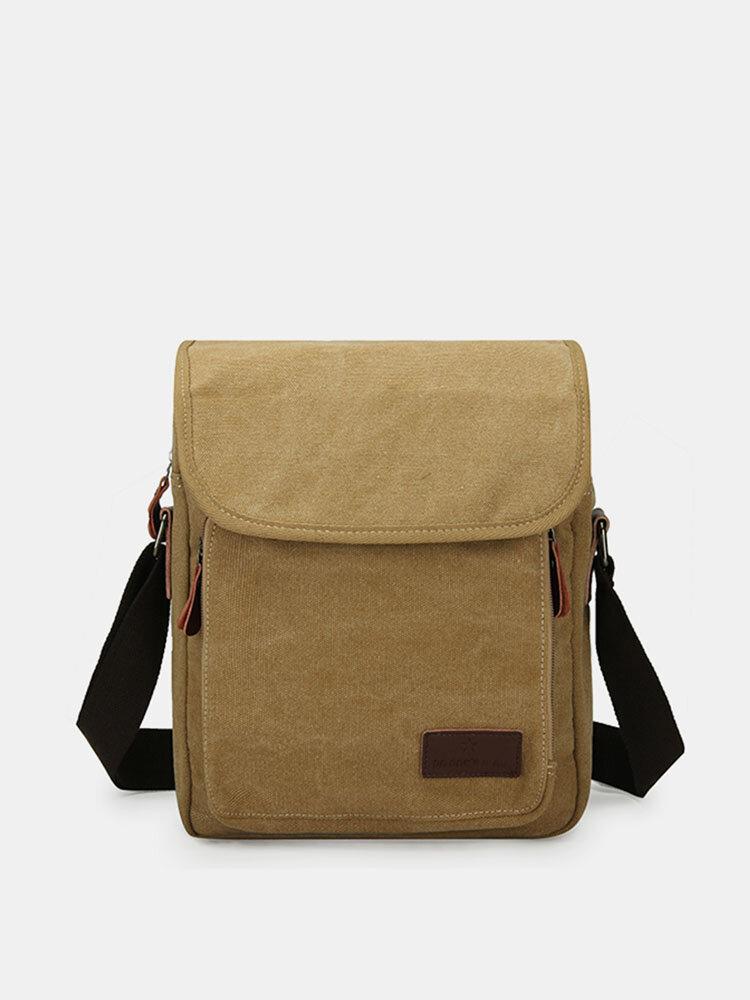 Multi-Functional Vintage Shoulder Bag Canvas Casual Solid Crossbody Bag For Men