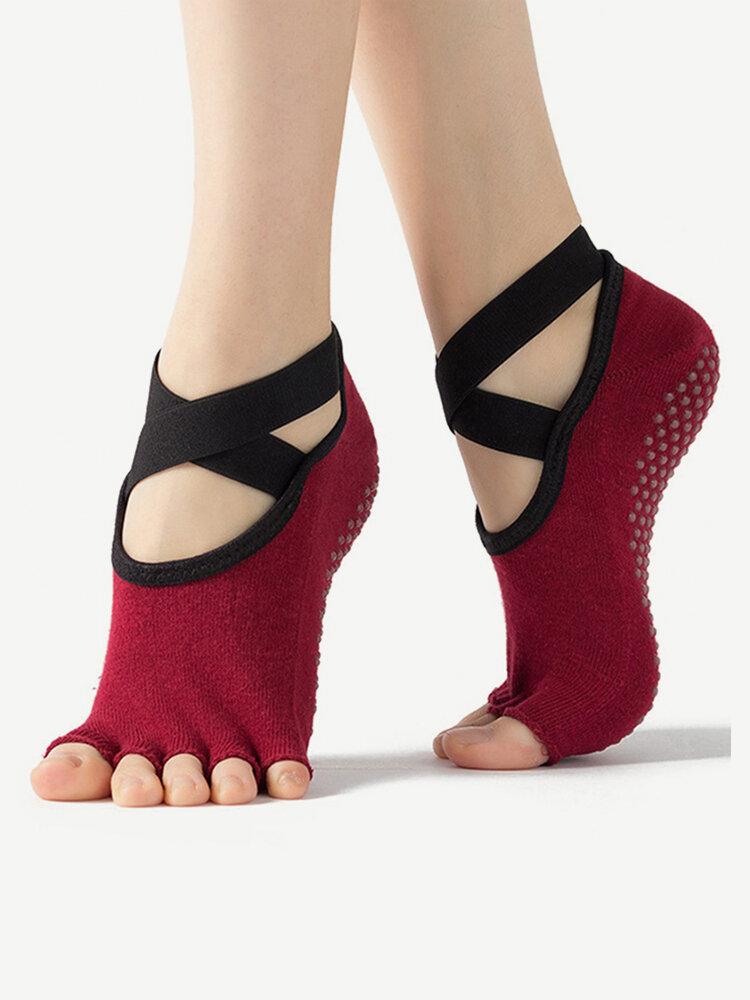 Women Bandage Yoga Quick-Dry Non-slip Damping Pilates Ballet Open Toe Cotton Socks