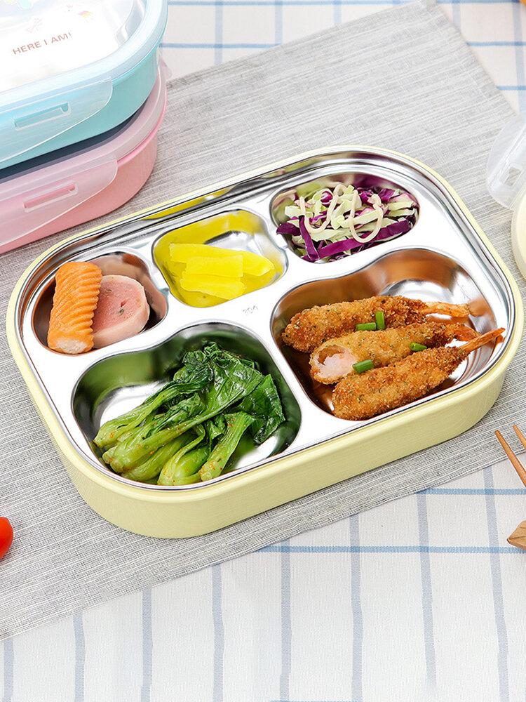 مربع الغداء غير القابل للصدأ الصلب للمدرسة الغداء بينتو حاويات مستطيل الكرتون 5 المقصورات