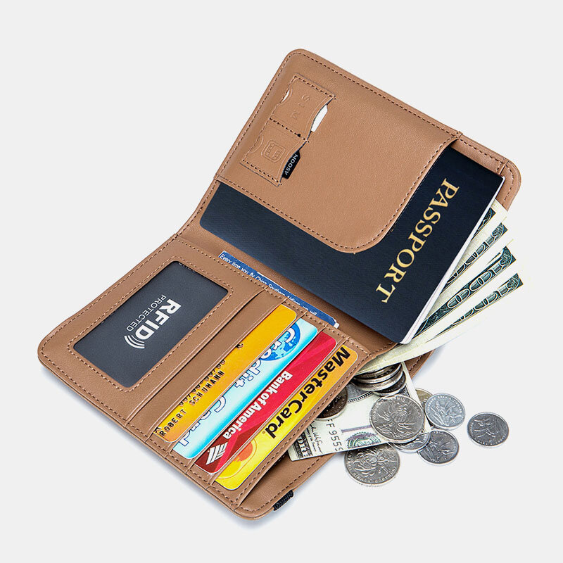 Women RIFD Genuine Leather 4 Card Slots 2 Cell Phone Card Multifunctional ID Package Money Clip Wallet Purse