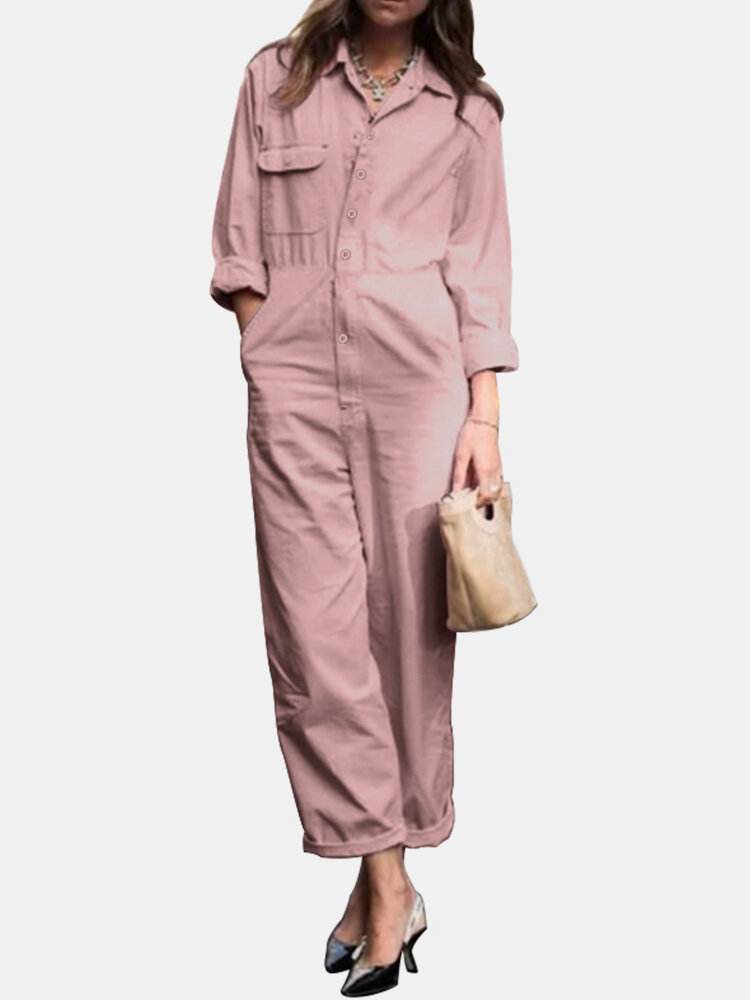 Solid Color Pocket Button Long Sleeve Casual Jumpsuit for Women