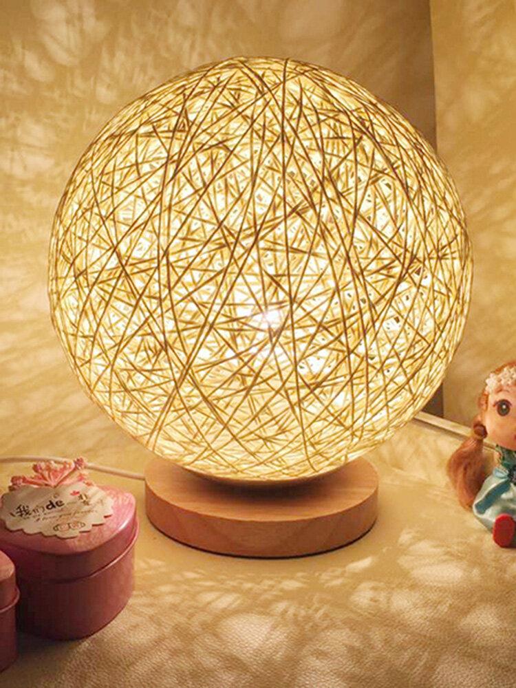 Rattan Ball Night Light Table Bedside Lamp Bedroom Home Decor Valentine Gift