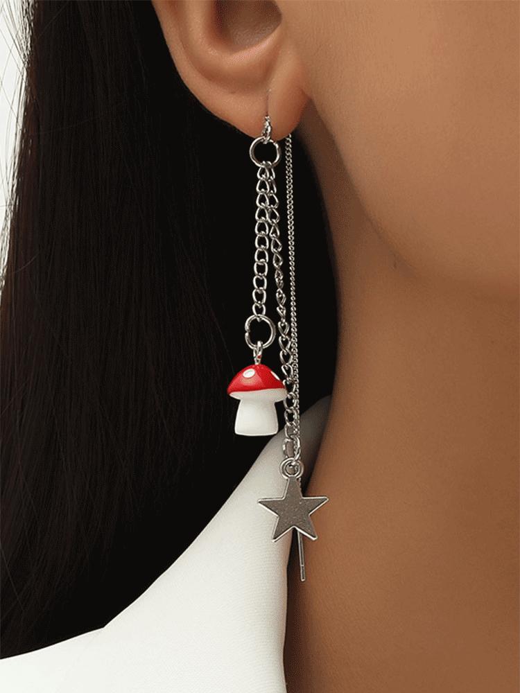 Bohemian Mushroom Star Earrings Temperament Alloy Hollow Earrings