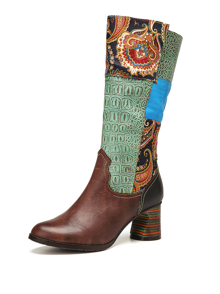 SOCOFY Retro Floral Cloth Paisley Splicing Colorblock Leather Wearable Sole Chunky heel Mid-calf Boots