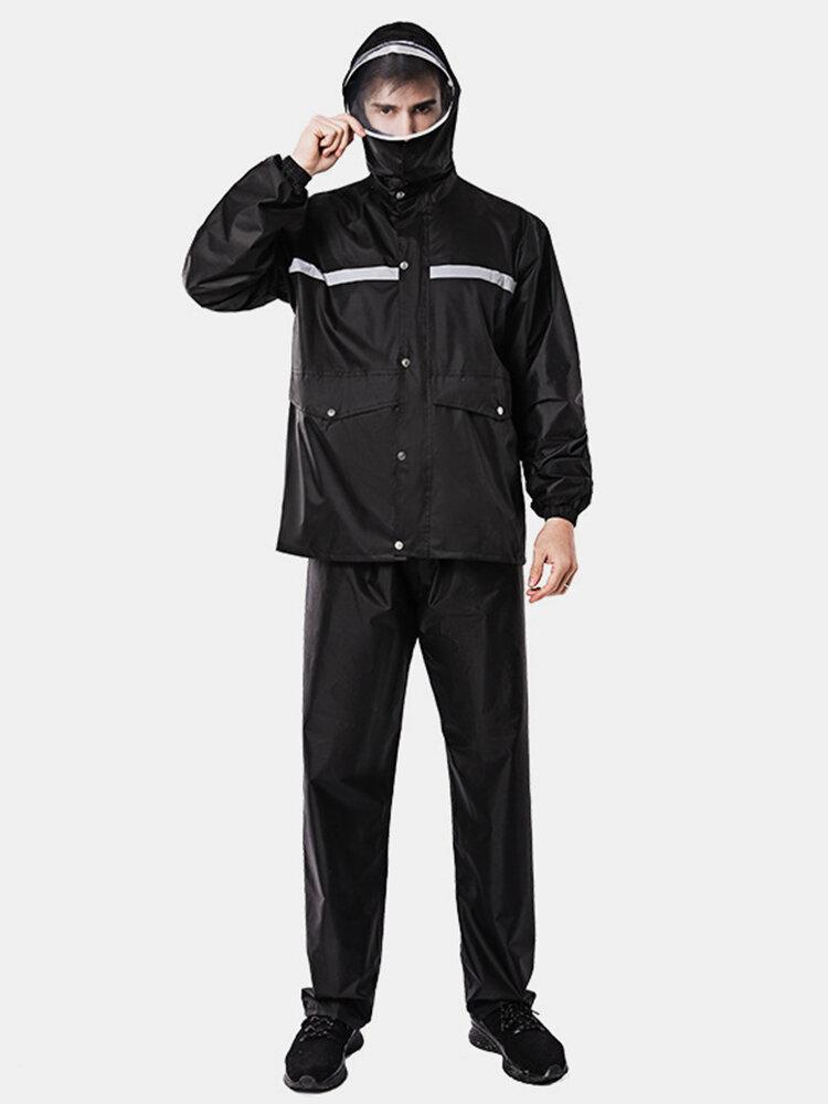 Raincoat Rain Pants Suit Men's Double Thick Waterproof Fashion Split Riding Single Raincoat