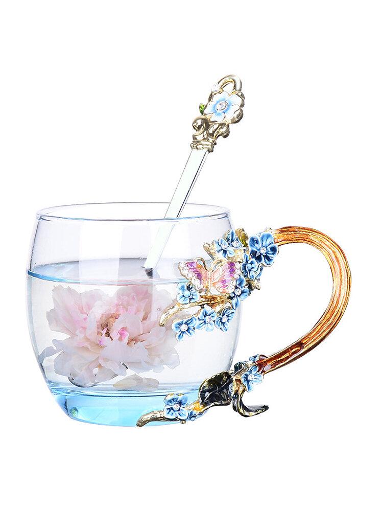 Enamel Flower Tea Cup Exquisite Plum Coffee Mug Handmade  Crafts Christmas Gifts