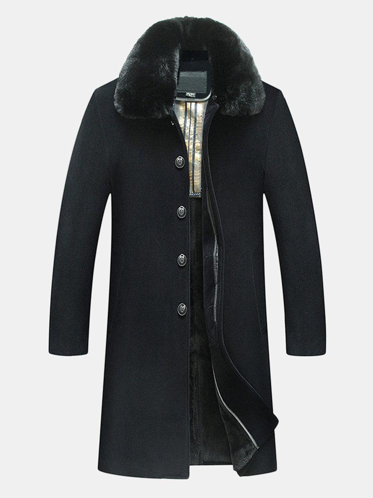 Abrigo de lana de doble lado para hombre Cuello de lana caliente engrosado Abrigo de trinchera informal de media longitud