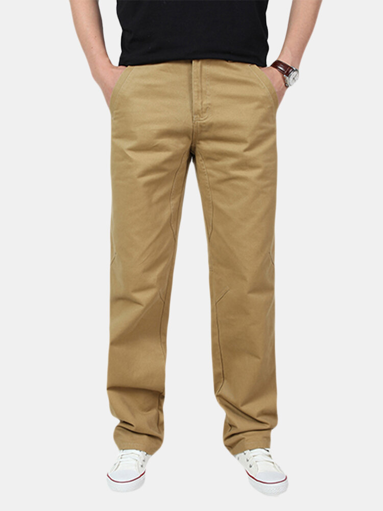 Mens Spring Fall Cotton Cargo Pants Regular Fit Solid Color Casual Business Trouser