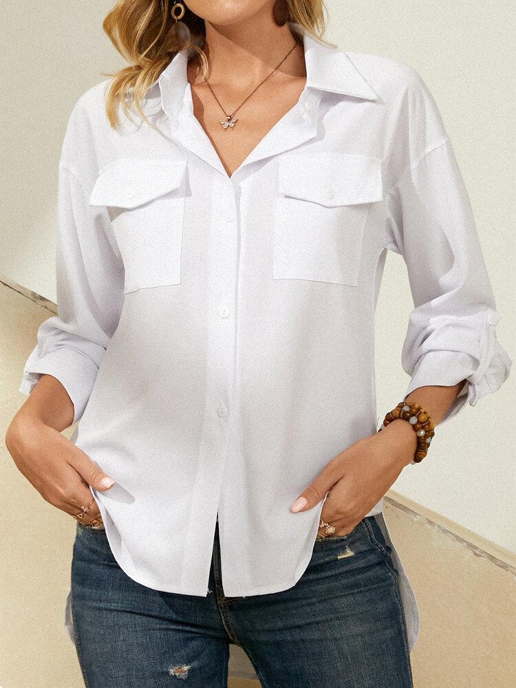 Manga larga con bolsillo de solapa liso Mujer Con botones Camisa