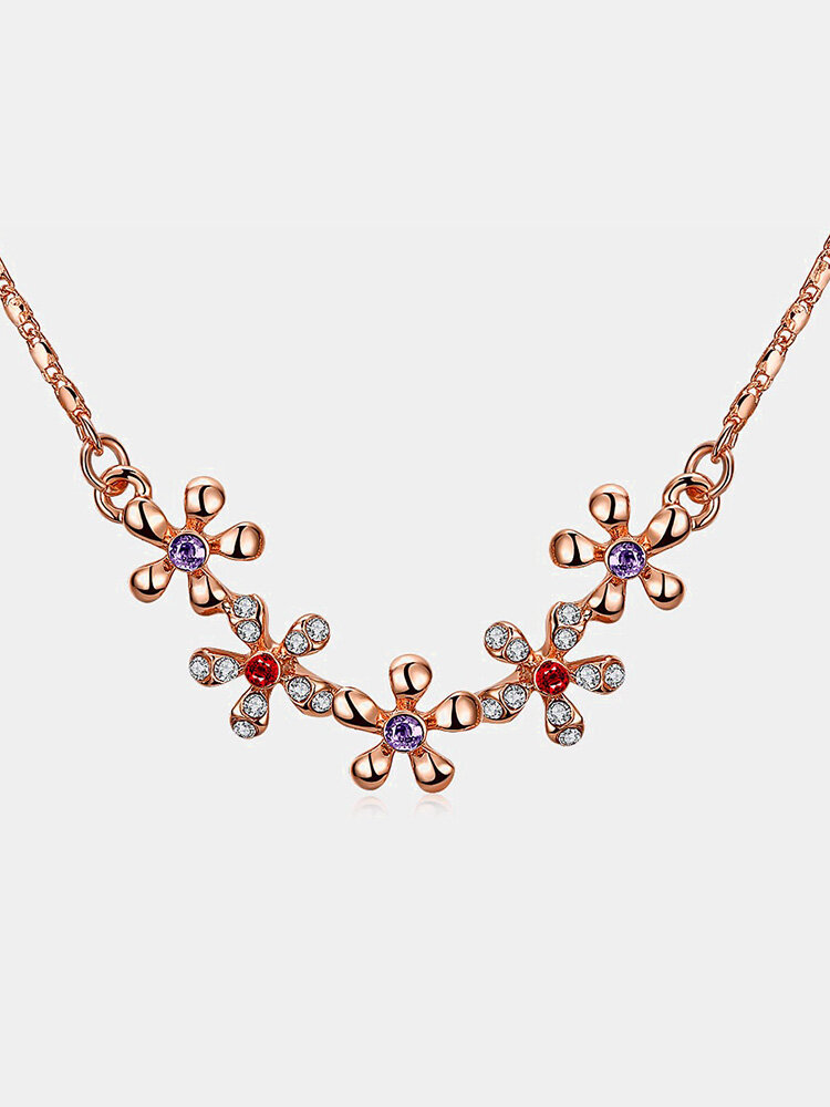 Sweet Luxury Necklace Five Rhinestone Flower Women Necklace