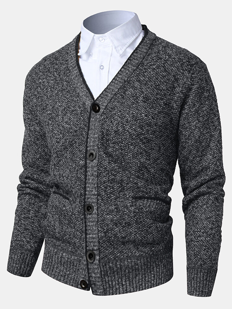 Mens Knit Ribbed Button Front V-Neck Casual Double Pocket Thick Cardigans