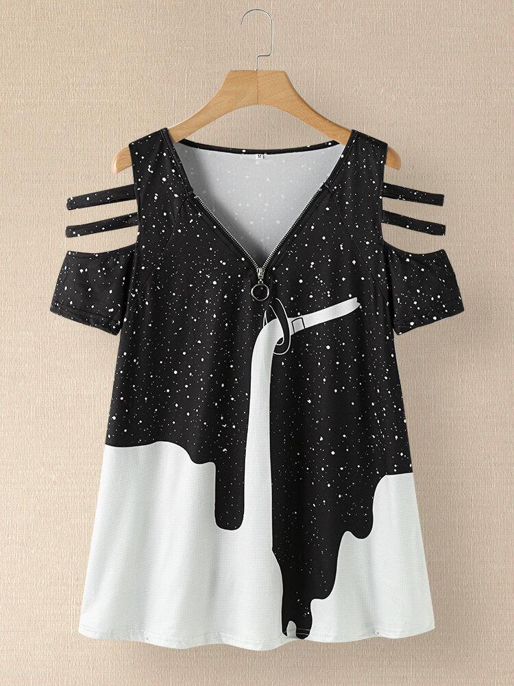 Zip Front Print V-neck Hollow Short Sleeve Women T-shirt