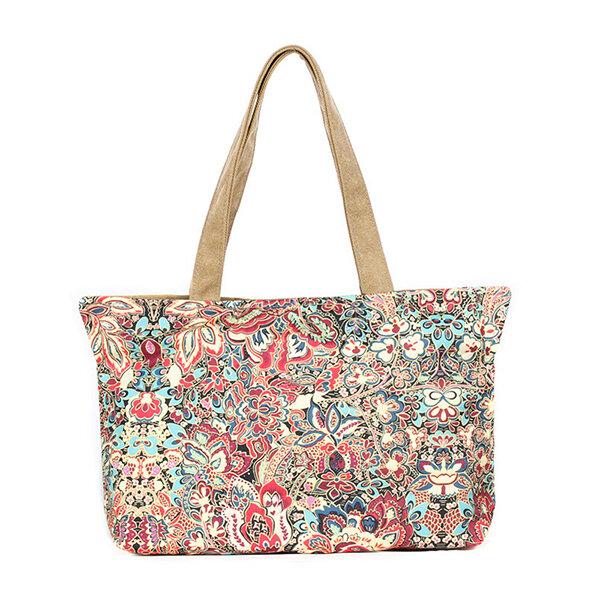 Vintage Print Pattern Shoulder Bag Canvas National Style Travel Handbags For Women