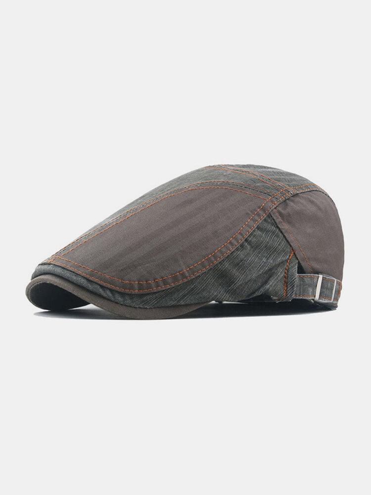 Men Cotton Patchwork Color Forward Hat Beret Hat Flat Cap