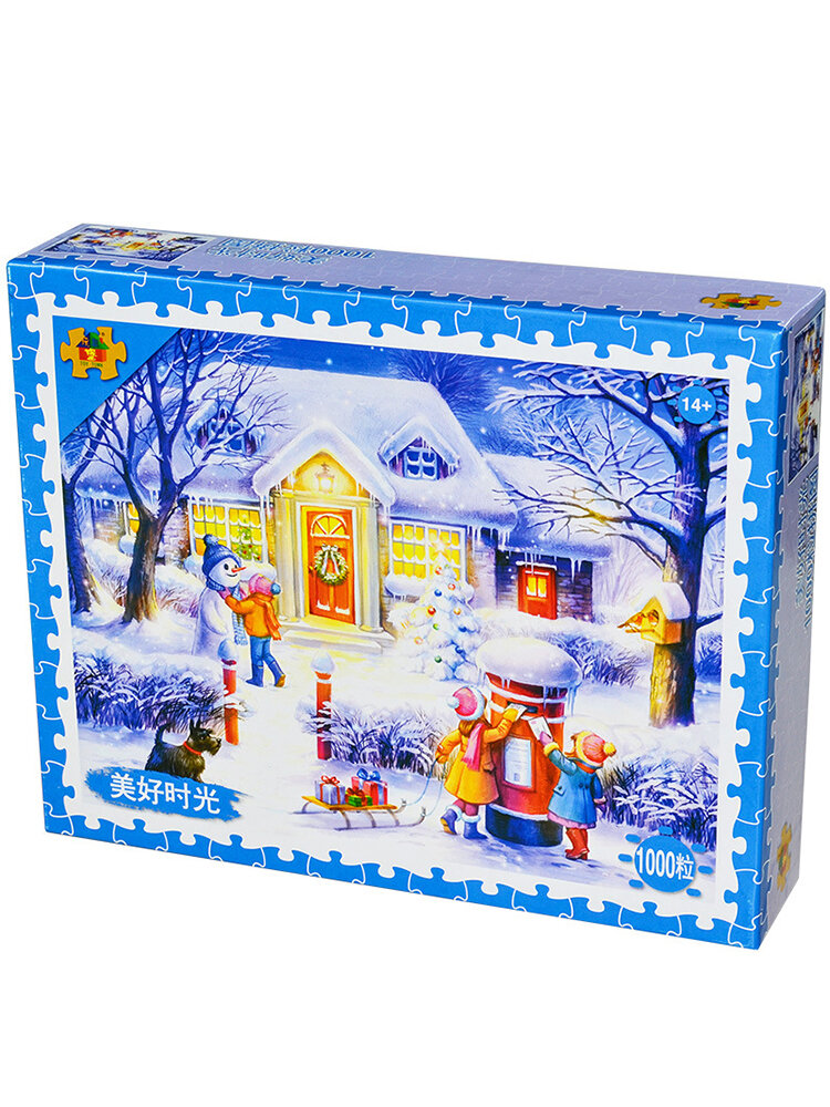 1000 Pieces of Paper Puzzle Adult Snow Puzzle Decompression Toy Jigsaw Cartoon Educational Toys Gift