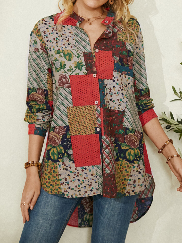 Vintage Ethnic Floral Print Patchwork Button Curved Hem Casual Blouse