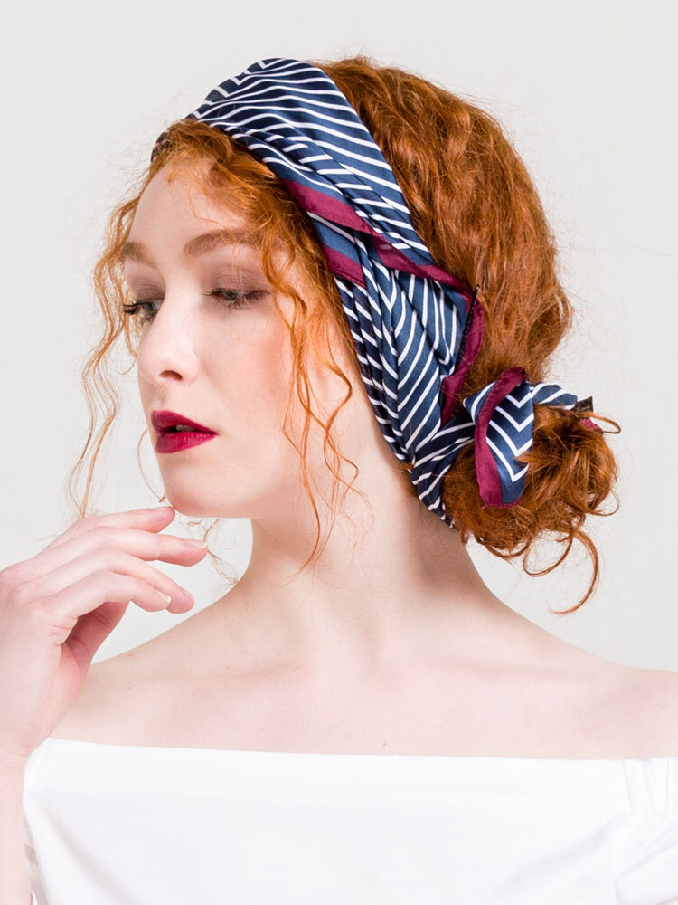 Womens Satin Silk Square Neck Scarf Headscarf Multi-function Tie Graphic Print Scarves
