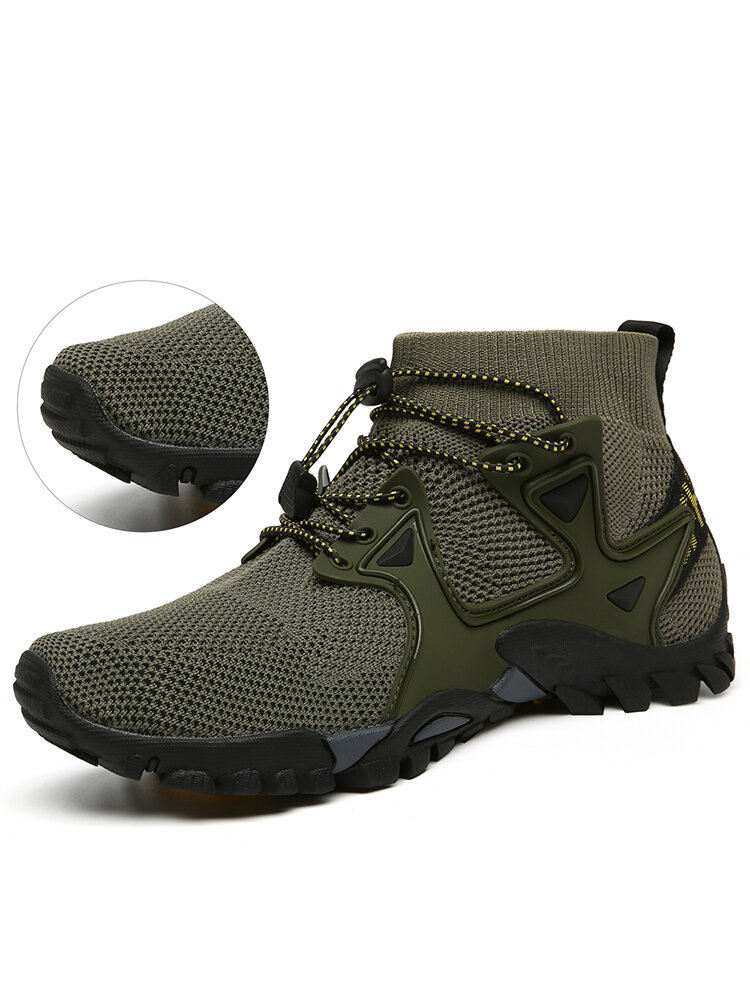 Men Knitted Fabric Breathable High Top Sport Casual Hiking Shoes