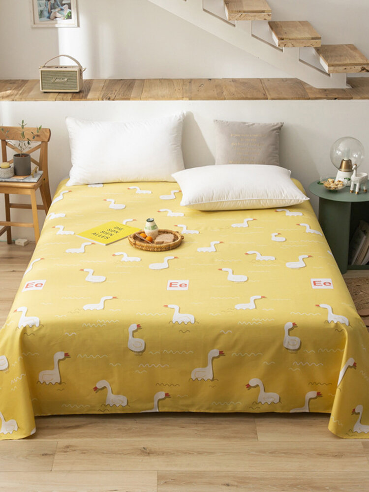 Small Fresh Pure Cotton Print Sheets Bedding Bedroom Cartoons Duck Single Double Sheets