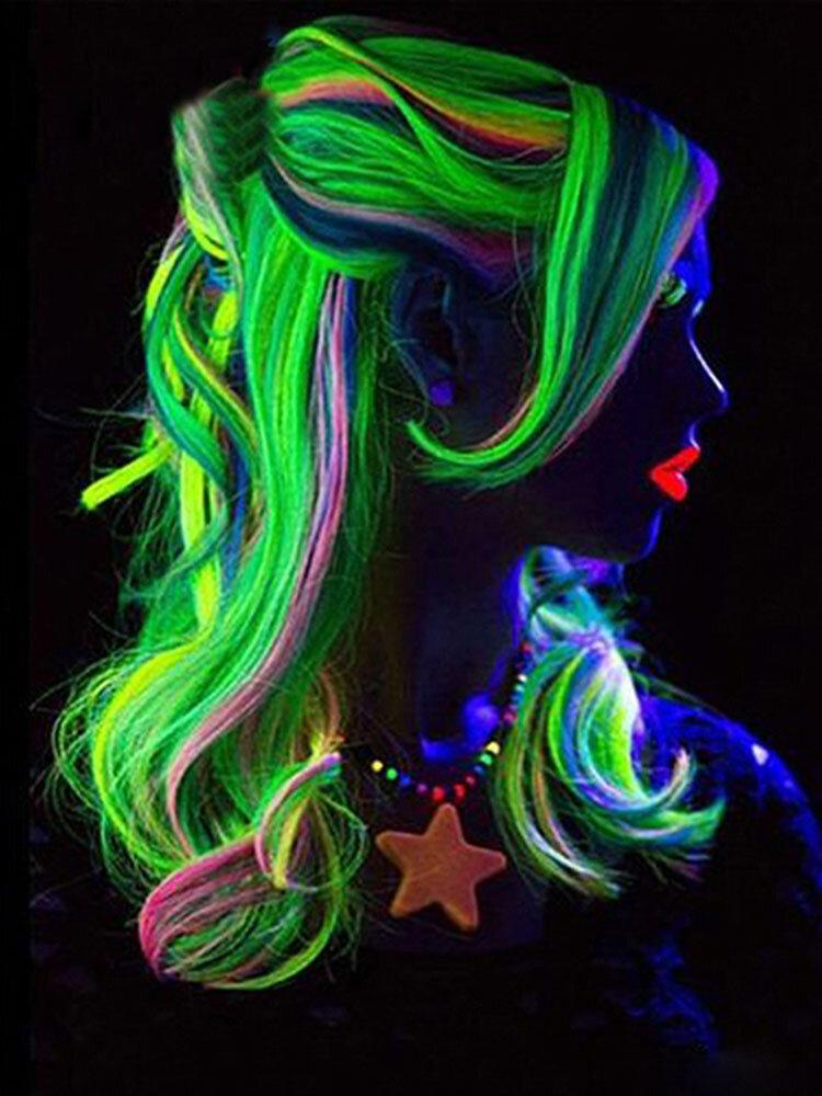 11 цветов светящиеся длинные прямые Парик Хэллоуин одиночные клипсы синтетические Волосы расширения