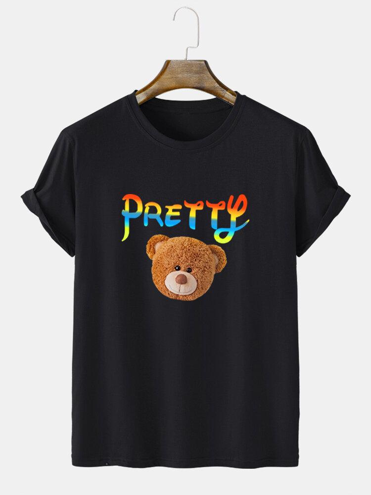 Mens Ombre Letter Bear Print Cute Short Sleeve T-Shirts