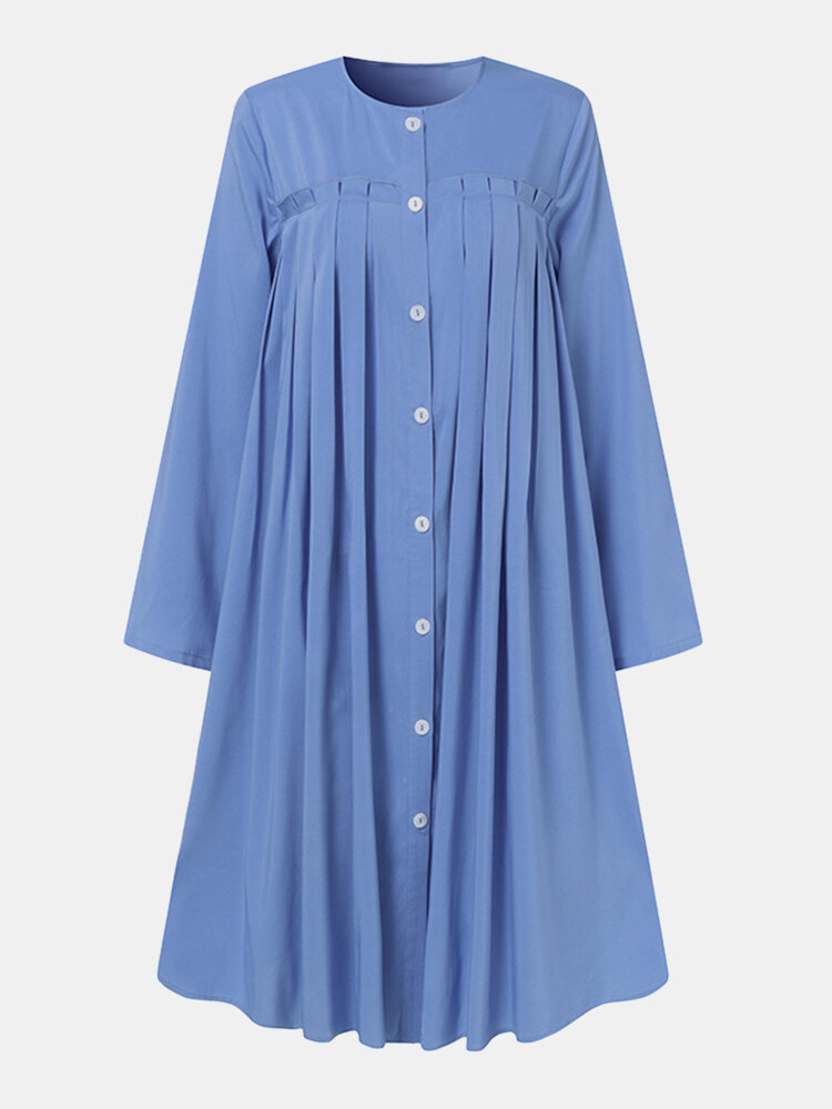 Women Solid Color Pleated Button O-neck Long Sleeve Midi Dress