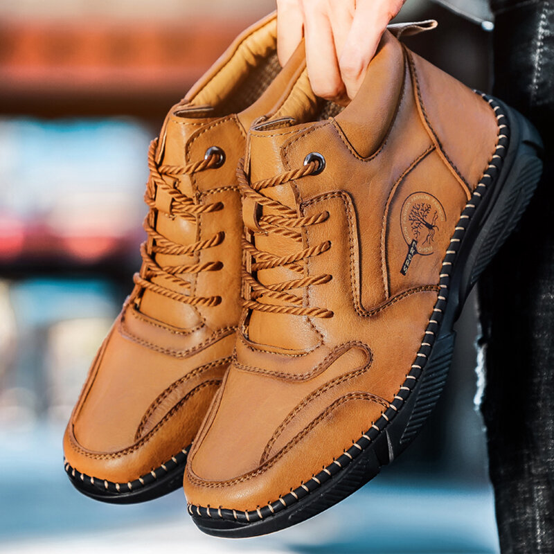 Men Vintage Microfiber Leather Hand Stitching Ankle Boots