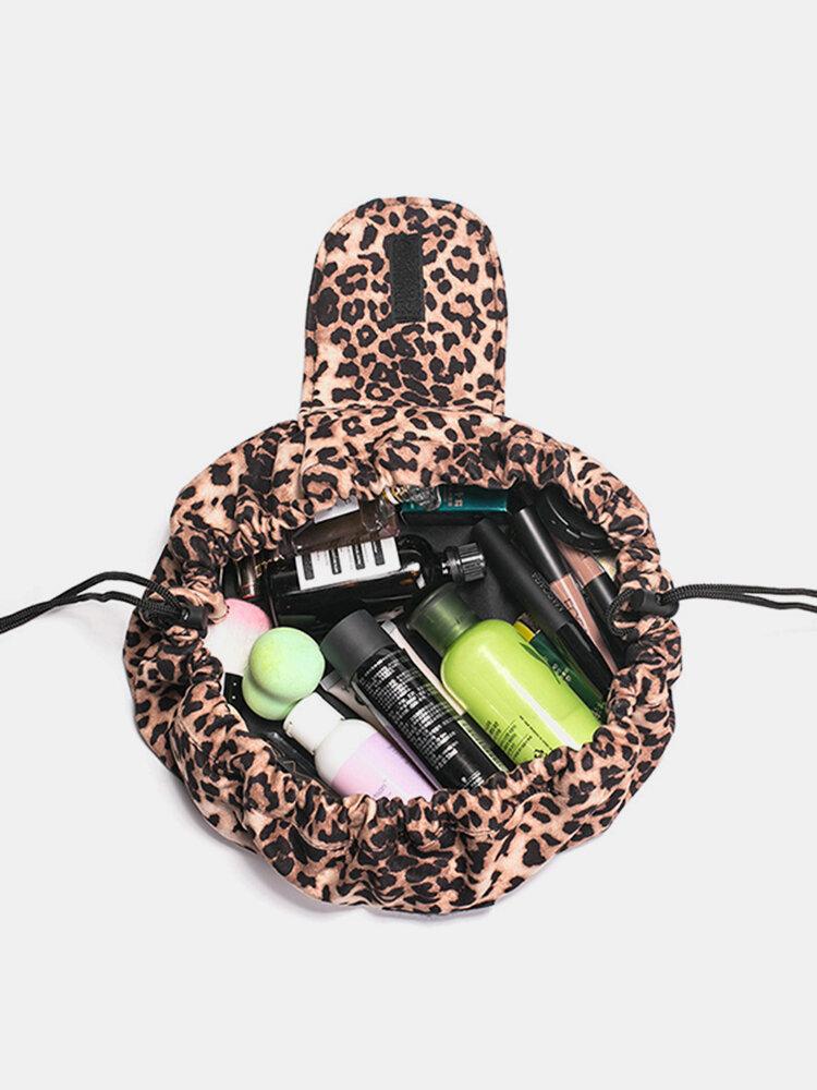 Leopard Print Lazy Makeup Bag Portable Travel Storage Bag Large-capacity Drawstring Storage Bag