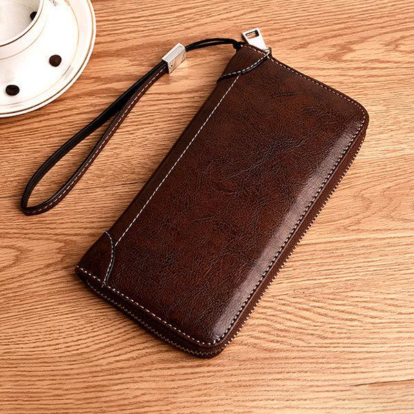 Men Business Casual Zipper Long Wallet Phone Bag Clutch Bag