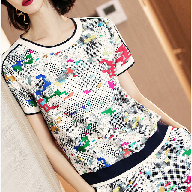 European Station New Style Fashion Printing Short-sleeved Shirt Bodice Casual Sports Suit Women