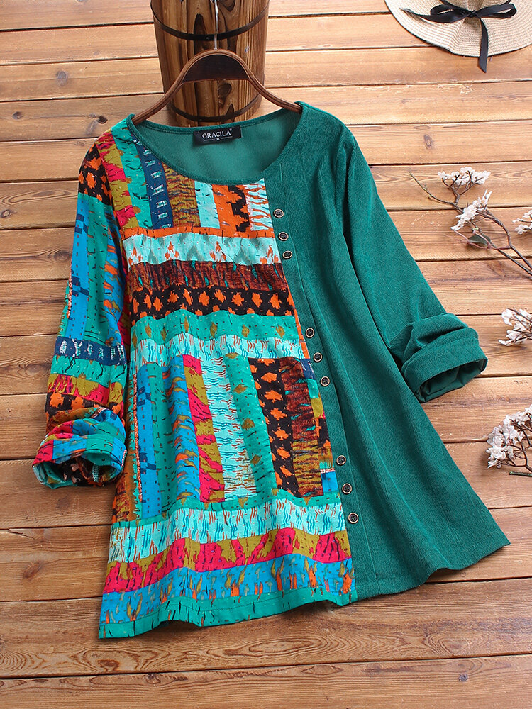 Corduroy Vintage Print Patchwork Long Sleeve Blouse