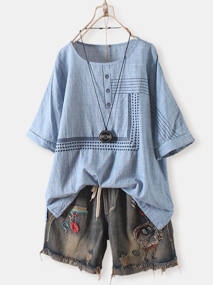 Plaid Embroidery Striped Overhead O-Neck T-shirt