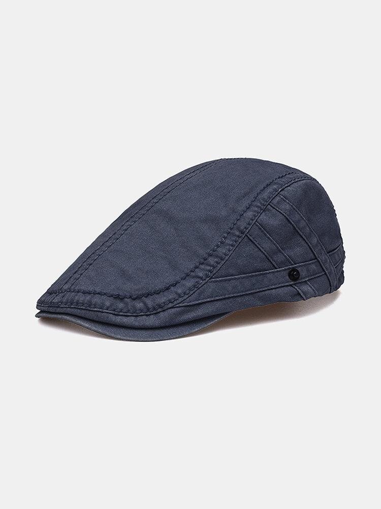 Mens Vintage Letter Embroidery Cotton Beret Hat Outdoor Sunshade Forward Cap Adjustable