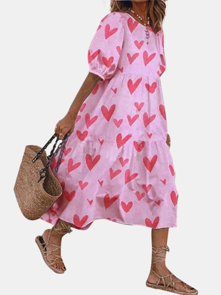 Heart Print Puff Short Sleeve Loose Midi Dress