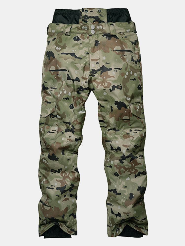 Mens Fashion Windproof Waterproof Thermal Camouflage Ski Pants