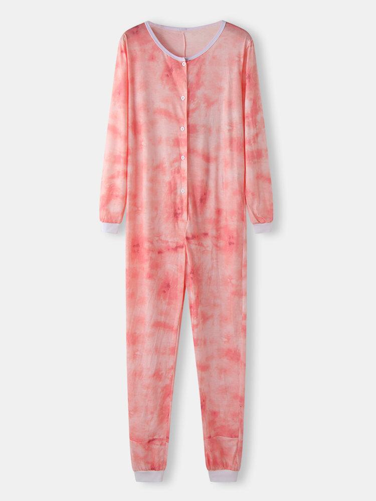 Women Plus Size Tie-Dye Print Loose Round Neck Long Sleeve Button Jumpsuit Home Lounge Onesies
