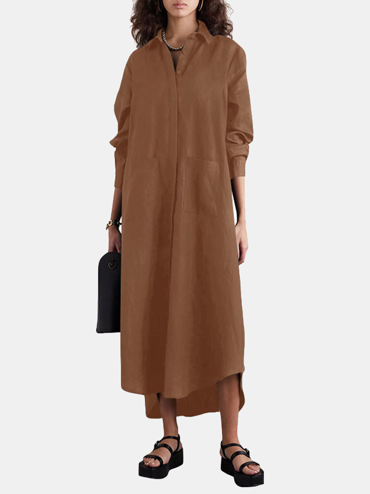 Solid Color Long Sleeve Lapel Collar Asymmetrical Casual Dress For Women