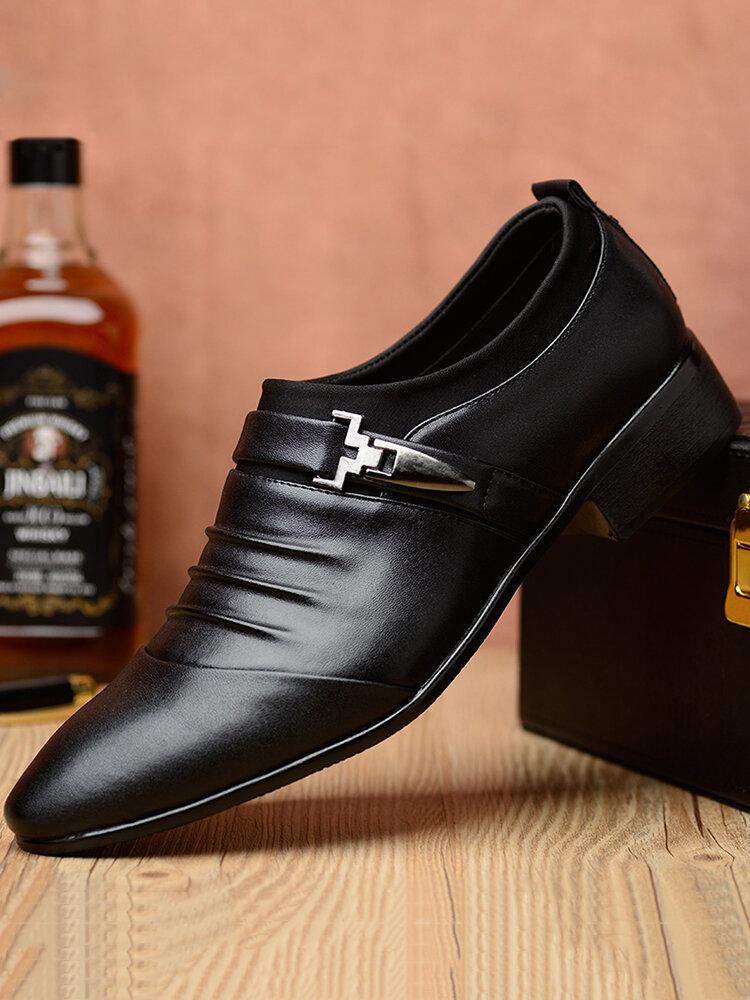 Men Microfiber Leather Non Slip Metal Slip On Casual Formal Dress Shoes