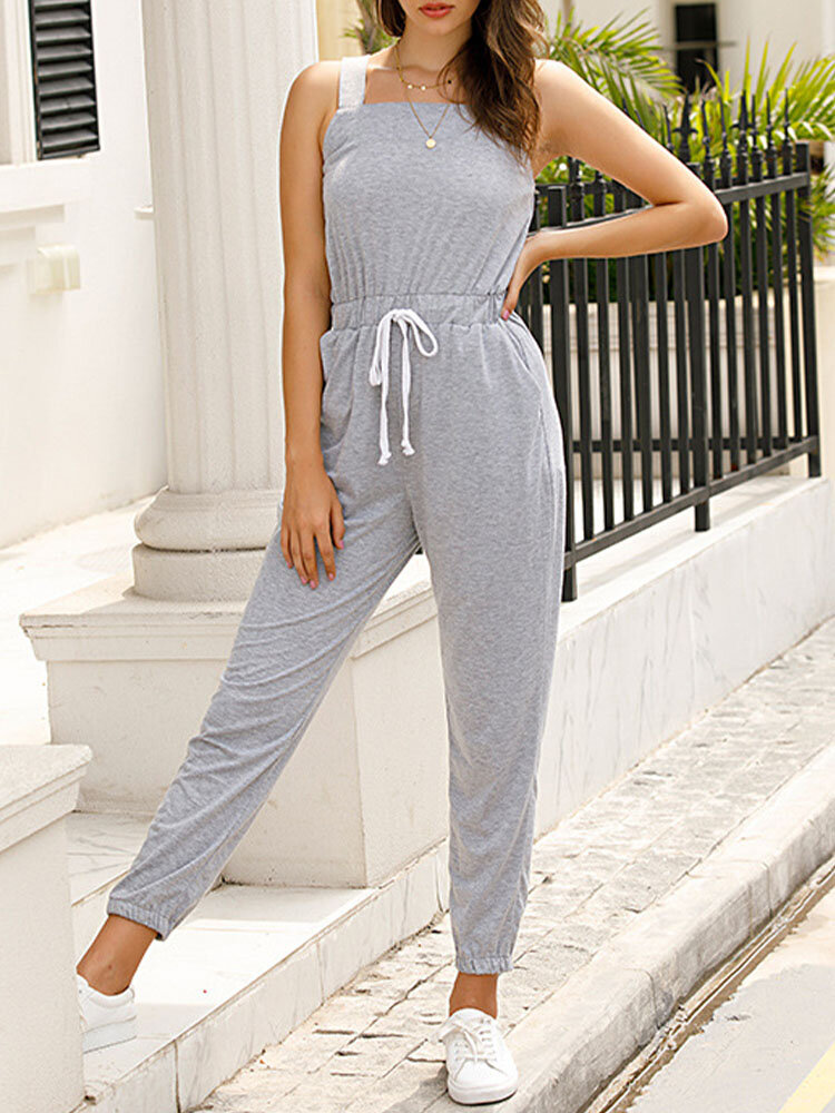 Solid Color Drawstring Waist Strap Cargo Jumpsuit with Pocket