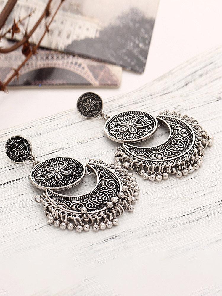 Retro Bronze Tassels Earrings Flower Totem Ear Drop For Women
