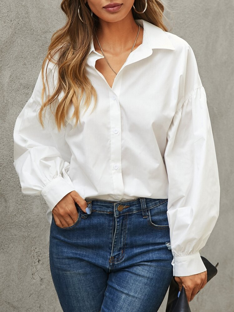 Women Solid Color Lantern Long Sleeve Button Casual Blouse