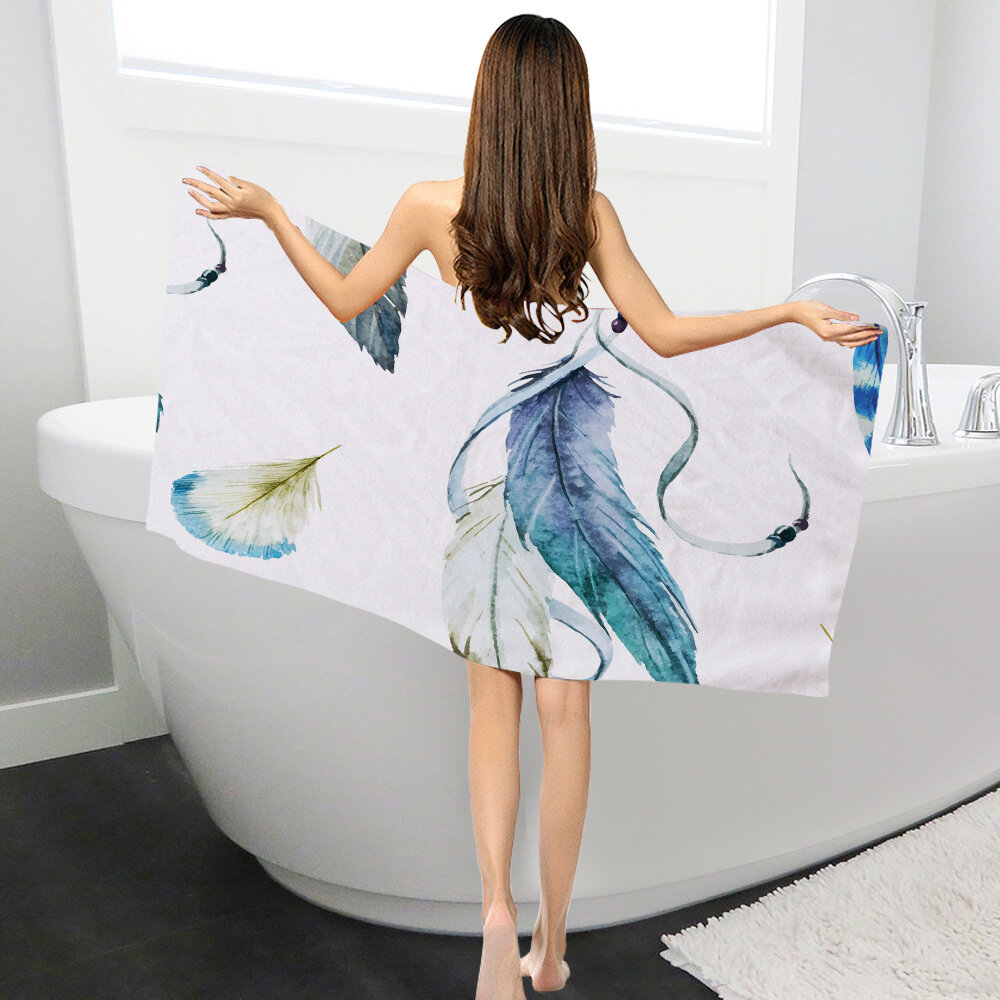 Peacock_Feathers_Rectangle_Microfiber_Wearable_Women_Rectangle_Absorbent_Bath_Beach_Towel