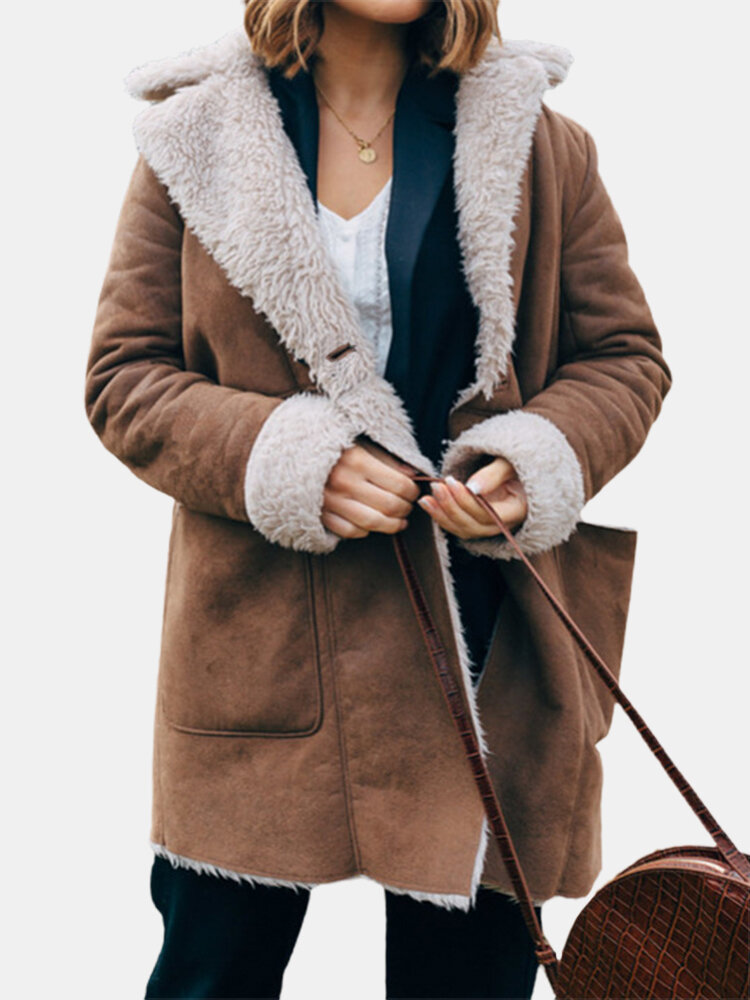 Lapel Plush Solid Color Long Sleeve Casual Coat For Women