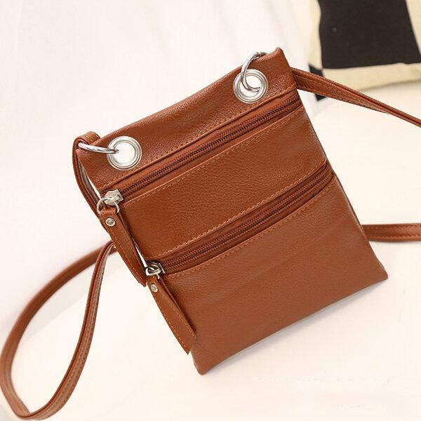 Women PU Leather Messenger Bags Zipper Crossbody Bag