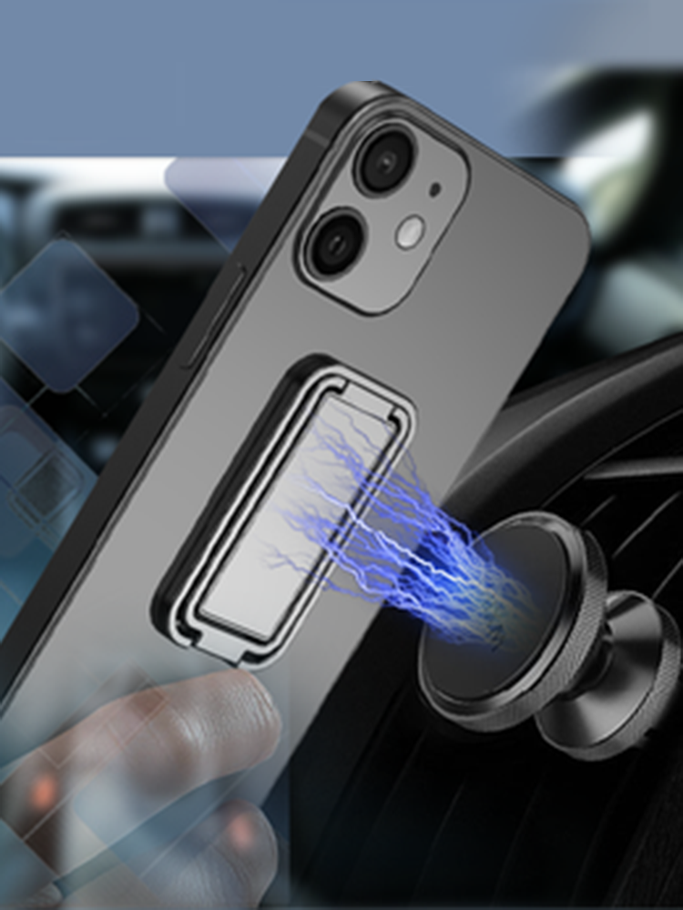 1PC亜鉛合金ユニバーサル折りたたみ式携帯電話アクセサリーブラケット360回転ダブルフィンガーリフトリングホルダー車携帯電話用磁気マウントスタンド