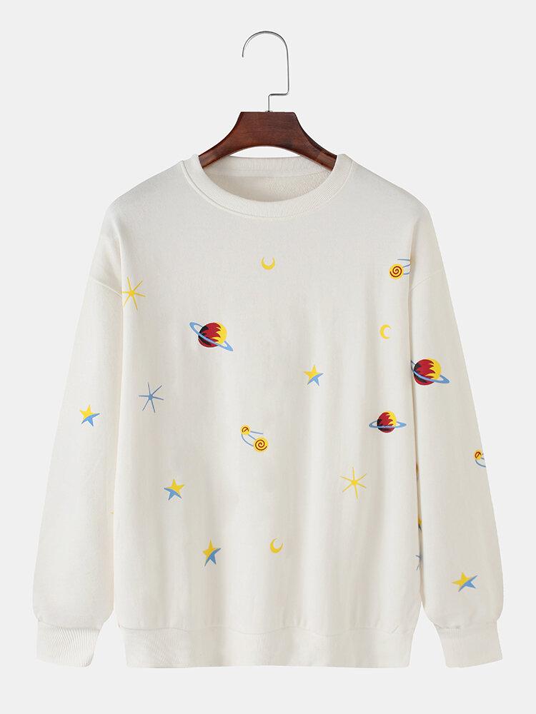 メンズコットンプラネットプリントラウンドネックカジュアルドロップスリーブスウェットシャツ